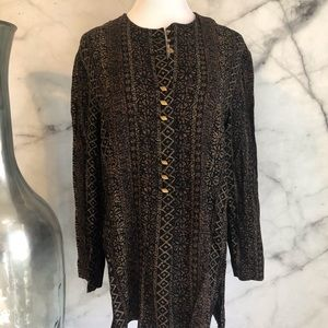 Black & Brown Tunic Buttoned Blouse Size 18